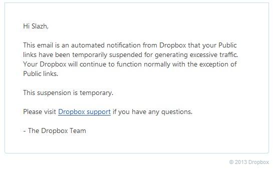 Akun Dropbox di Disable