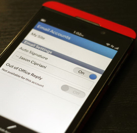 Email Signature di Blackberry 10