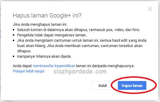 hapus google plus