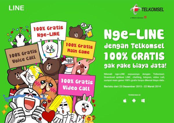 line gratis dengan telkomsel