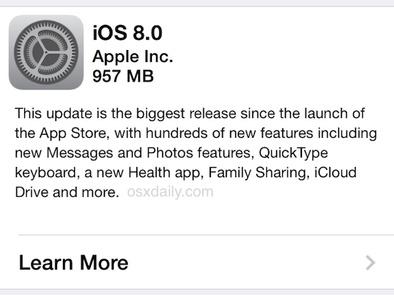 Update iOS 8 Sudah Dapat Diunduh via OTA dan via iTunes