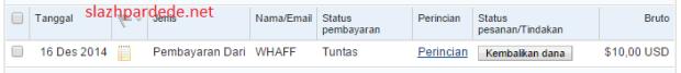 Bukti Pembayaran WHAFF ke PayPal