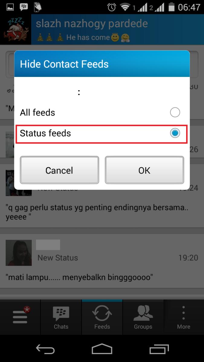 Cara Memblok Status Teman di BBM Android