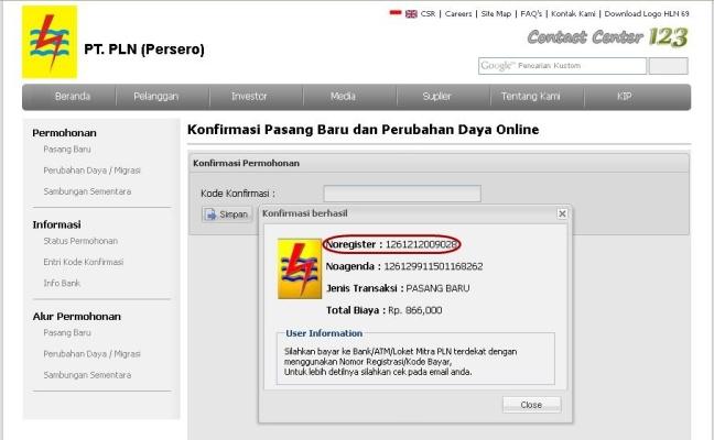 Cara Membuat Permohonan PLN Pemasangan Listrik Prabayar Prepaid Kode registrasi no agenda